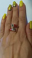 Серебряное кольцо с красной эмалью  Фея