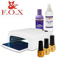 Стартовый набор для покрытия ногтей гель-лаком F.O.X с УФ лампой 818 № 6 (6 предметов):