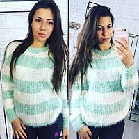 Женский супер стильный полосатый свитер травка, 3 цвета