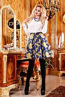 Яркая, нежная юбка со стильным орнаментом, жаккард, клеш, 42-46 размер 44