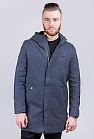 Куртка мужская удлиненная с капюшоном AG-0003119 Серый
