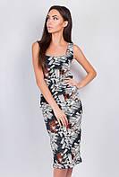 Платье миди летнее, без рукава AG-0003471 Черно-коричневый