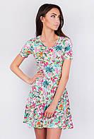 Платье женское разноцветное, короткий рукав AG-0003474 Цветной принт