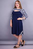 Александра. Комбинированное платье супер батал. Синий+орнамент.