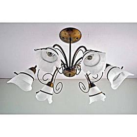 Люстра коричневая на шесть ламп с белым плафоном SW-12158/6 BK