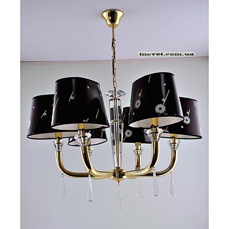 Люстра на шесть ламп золотая с абажурами SZ-H-9561/6P FG