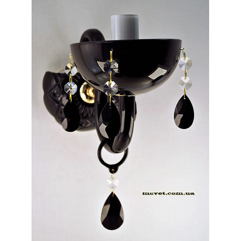 Бра черное хрустальное на одну лампу SZ-9521/1W FG