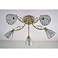 Люстра бронзовая на пять ламп и прозрачным плафоном с хромовым узором SW-112135/5CE AB