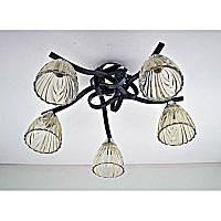 Люстра черная на пять ламп с коричневым плафоном SW-12129/5 CR+BK+BR