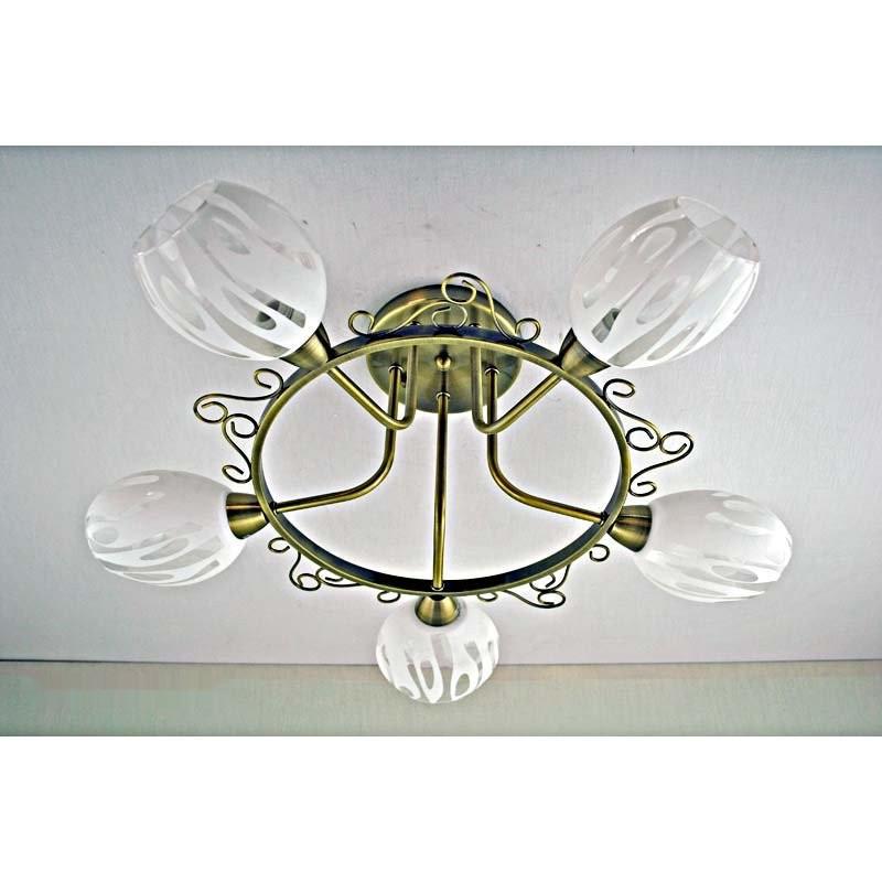 Люстра бронзовая на пять ламп с белым плафоном SW-12141/5C AB