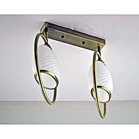 Люстра бронзовая на две лампы с белым плафоном SW-812149/2C AB