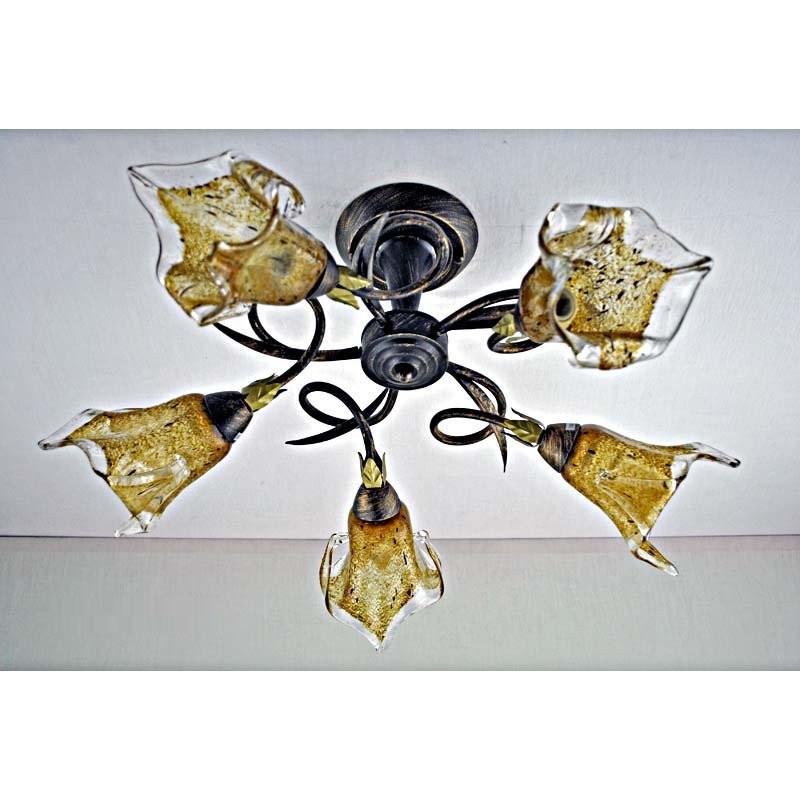 Люстра бронзовая на пять ламп с коричневым плафоном SW-12156/5A GD Bronze