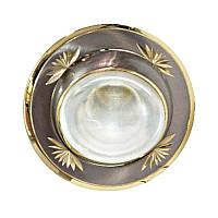 Встраиваемый светильник литье круглый с насечками титан золото FERON NL09 R50 E14 TN GD