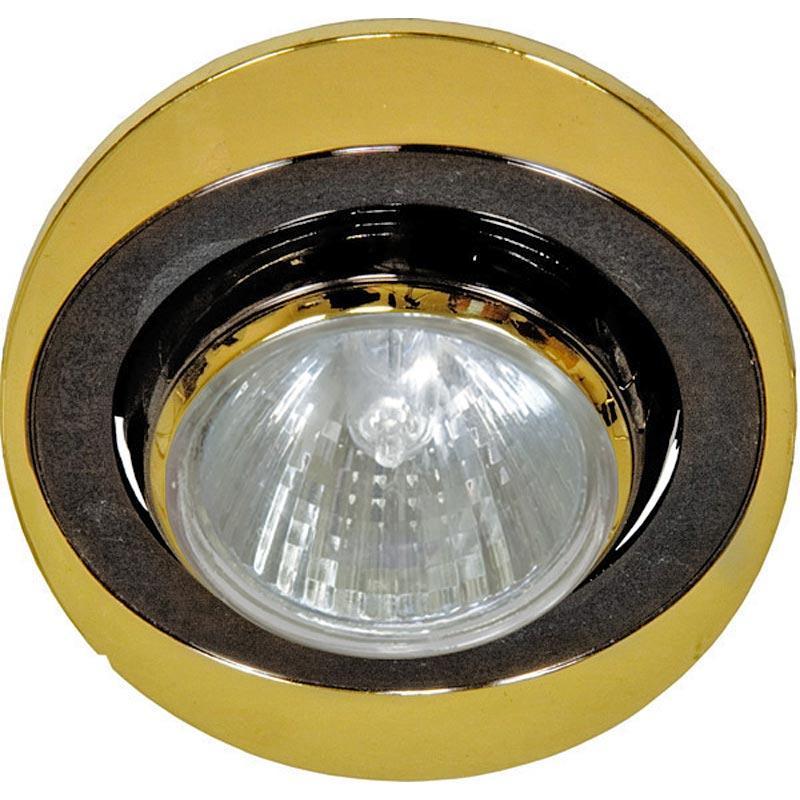Поворотный встраиваемый светильник черный-золото овал FERON 108T MR-16 GU5.3 BK-GD