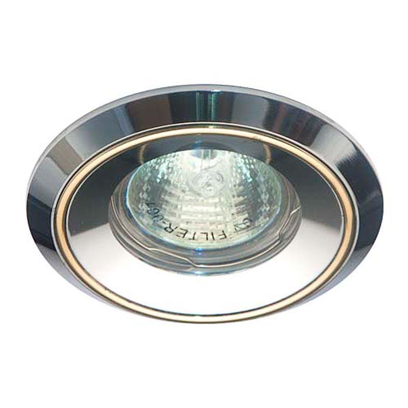Встраиваемый светильник черный алюминий золото FERON DL1024 MR16 G5.3 AL GD