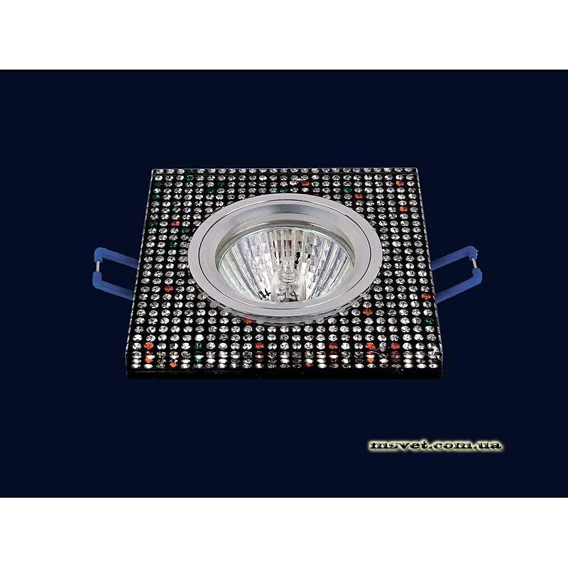 Точечный светильник черный с декором  на хроме LS-10904