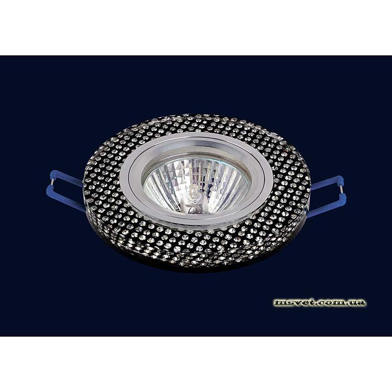 Точечный светильник черный с декором  на хроме LS-10905
