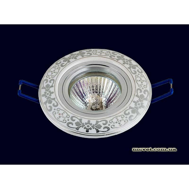Точечный светильник белый  с хромовым рисунком LS-10931 CR