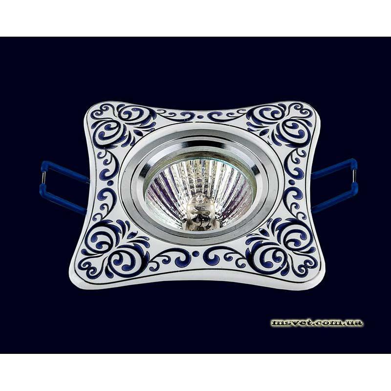 Точечный светильник белый  с синим рисунком LS-10932 BLUE