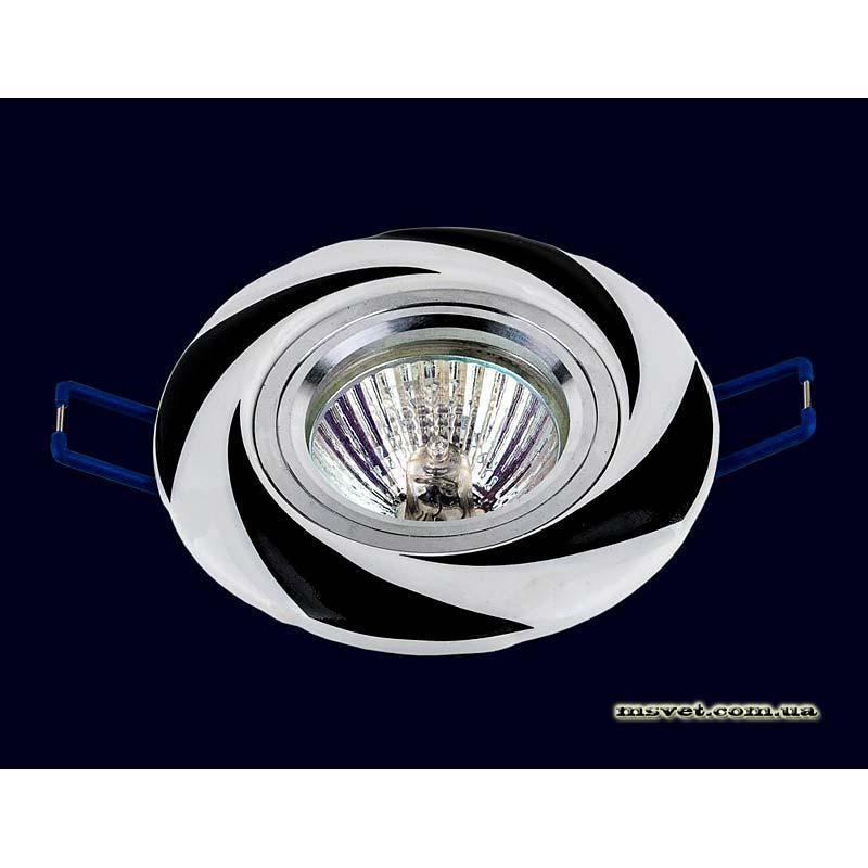 Точечный светильник черно-белый на хроме LS-10933 BK