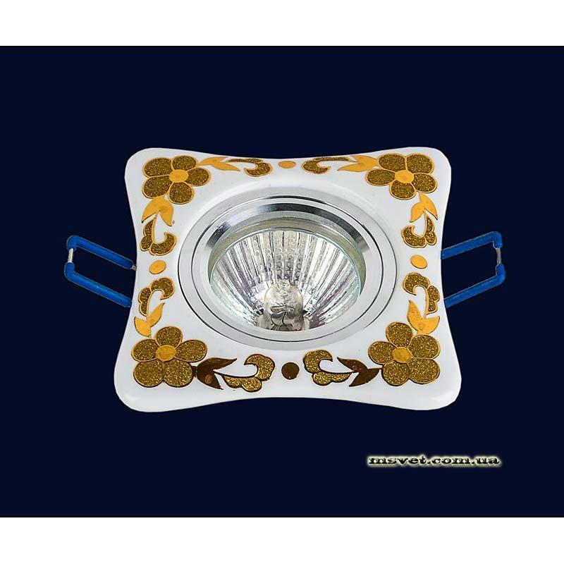 Точечный светильник белый с золотом на хроме LS-10934 GD
