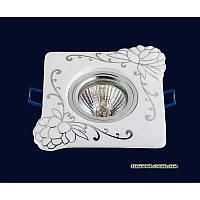 Точечный светильник белый с серебром на хроме LS-10935 CR