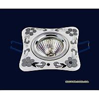 Точечный светильник белый с серебром на хроме LS-10934 CR