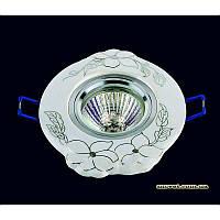 Точечный светильник белый с серебром на хроме LS-10936 CR