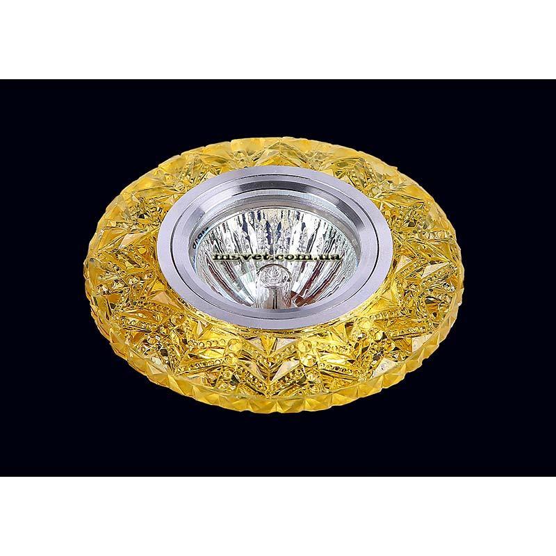 Точечный светильник желтый  на хроме LS-10937