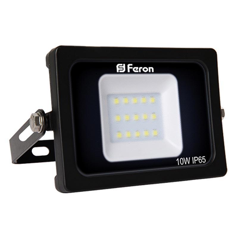Прожектор LED смD с матовым стеклом 10W черный Feron LL-510 15LEDS 10W 6400K 230V IP 65