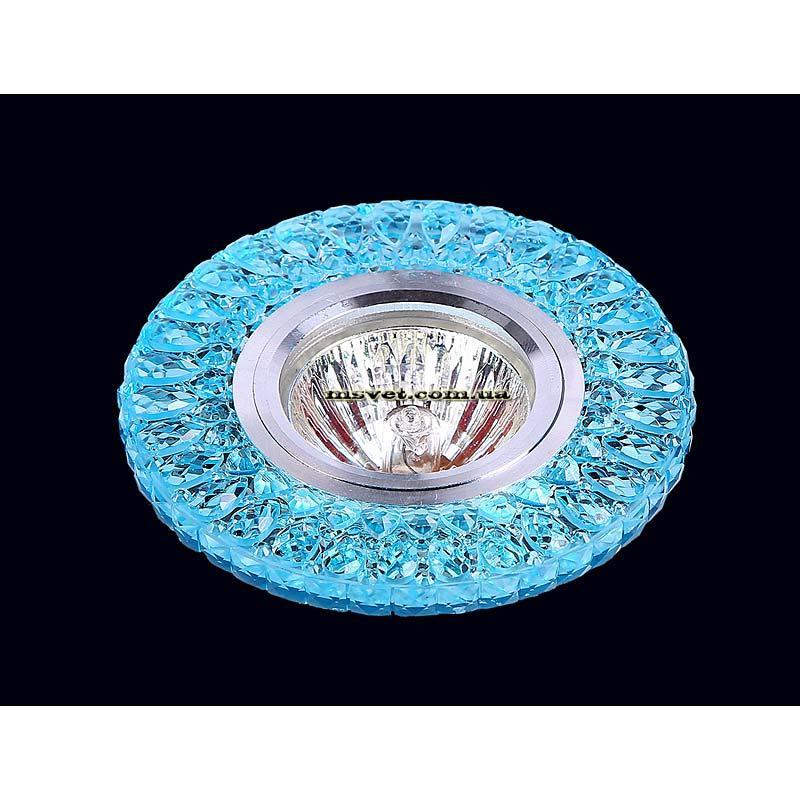Точечный светильник голубой  на хроме LS-10970