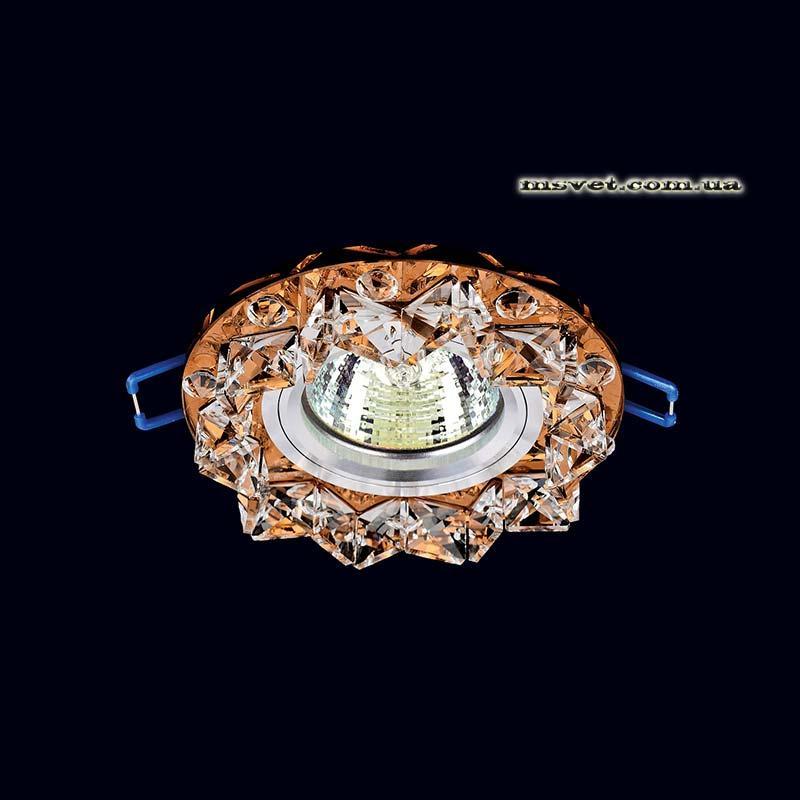 Точечный хрустальный светильник, коричневый на хром LS-11298