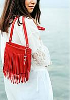 Сумка кожаная женская кросс-боди с бахромой красная (ручная работа), фото 1