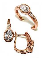 """Набор фирмы Хuping """"серьги и кольцо"""" Цвет:позолота с кр.оттен; Камни: белый циркон. Есть 16,5;19;20; р. кольца"""