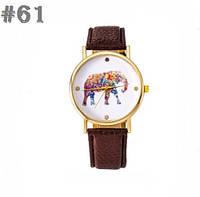 Женские часы с ремешком коричневого цвета Elephant (61)