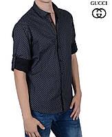 Стильная мужская рубашка Gucci,с подворотом рукава.
