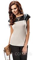 Женская блуза бежевого цвета с кожаной вставкой. Модель 17030 Enny. Интернет-магазин irse.com.ua.