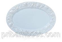 Блюдо керамическое овальное 34см Морские мотивы
