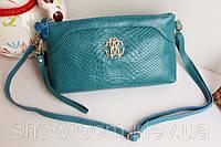 Клатч - сумка в стиле Roberto Cavalli (бирюзовый цвет)