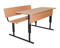 Парта ученическая двухместная, регулируемая (стол+скамья со спинкой+полка) 120х50 см. h=64/76 см.