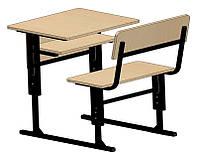 Парта ученическая одноместная, регулируемая (стол+скамья со спинкой) 60х50 см. h=64/76 см.