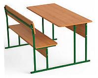 Парта ученическая двухместная (стол+скамья со спинкой) 120х50 см.