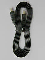 Шнур HDMI-HDMI, плоский кабель, gold,1,5 м, чёрный (в блистере), фото 1