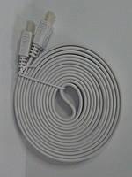 Шнур HDMI-HDMI, плоский кабель, gold, 3м, белый (в блистере), фото 1