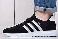 Кроссовки мужские осенние Adidas Iniki Black (реплика)