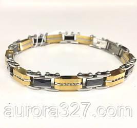 Мужской браслет с черными и золотистыми вставками из стали и камней