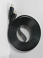 Шнур HDMI-HDMI, плоский кабель, gold, 3м, черный (в блистере), фото 1