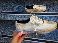Туфли на низком ходу Roberto натуральная кожа золото