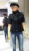 Пиджак из меха козлика черного и белого цвета рукав 3/4 воротник стойка размер 44-48