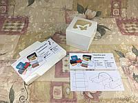 Коробка Молочная для 1-ого кекса с окном Бабочка для капкейка, маффина 100*100*90 (с окошком)